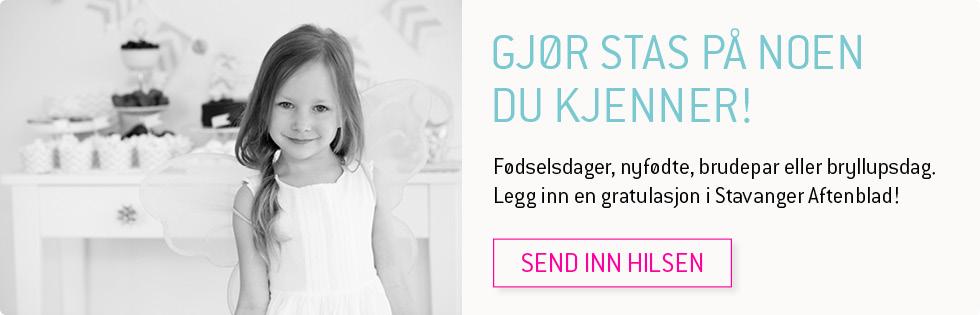Bursdagsjente. Foto. Legg inn en gratulasjon i Stavanger Aftenblad.