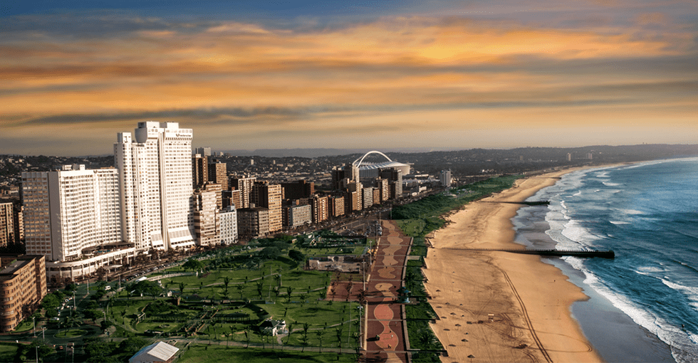Utsikt over stranden i Sør Afrika.