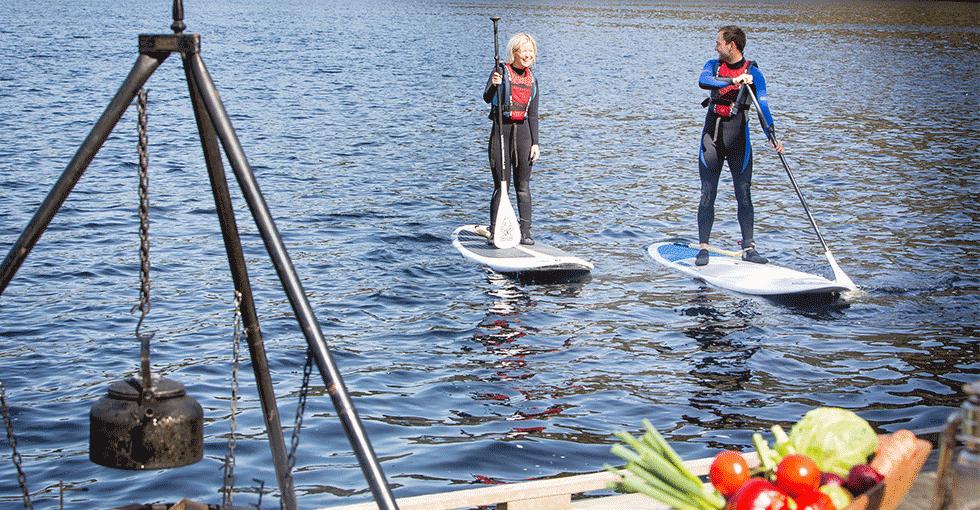 to personer som padler på vannbrett