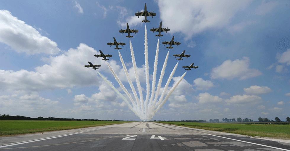 9 fly som flyr i vifte