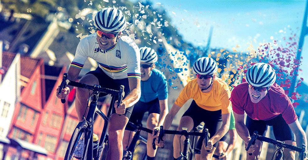 Proffsyklister i Bergen sentrum - Bryggen