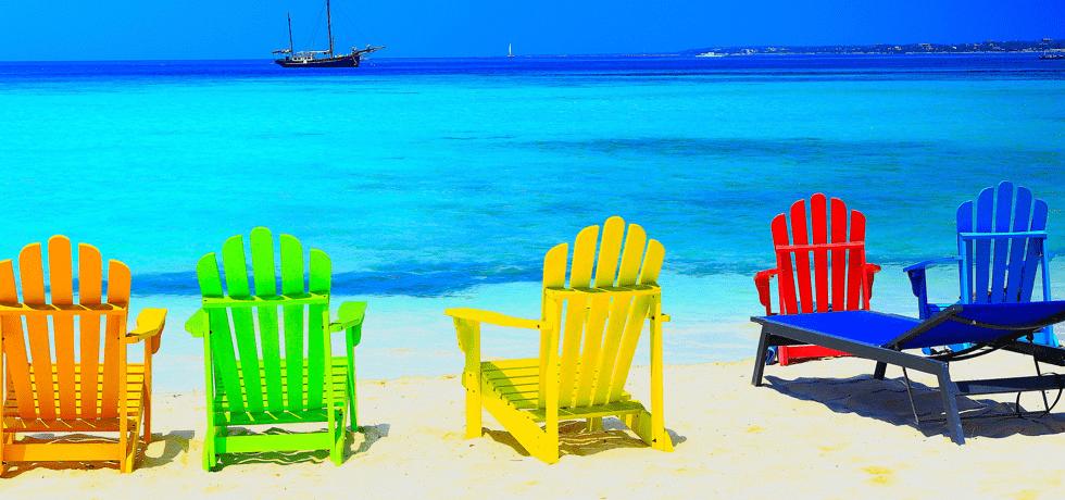 Blått hav i Karibia
