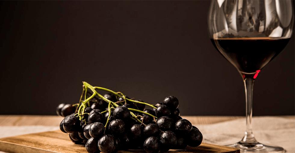 rødvin i glass og en klase mørkerøde druer