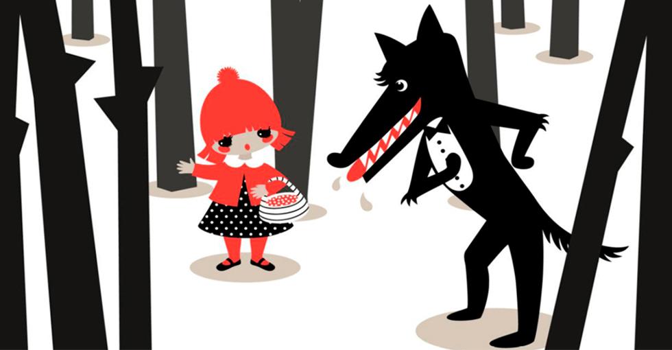 rødhette og ulven i skogen